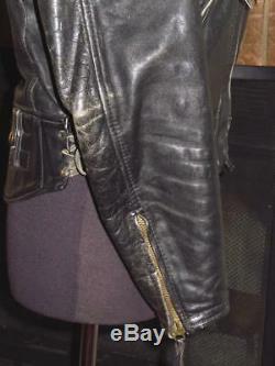 Vintage 1981 LANGLITZ LEATHER Black Columbia Motorcycle Biker Jacket 38 40 S