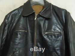 Vintage 50's Distressed Leather Motorcycle Jacket Size L Aero Zips
