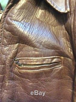Vintage 50s Distressed Brown Horsehide Leather Motorcycle Biker Jacket Mens