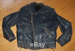 Vintage 50s Distressed CAL LEATHER Black Leather CHP Motorcycle Jacket Size 44