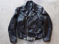 Vintage 60s 70s Leather Motorcycle Jacket Size L Moto Talon Black Coat