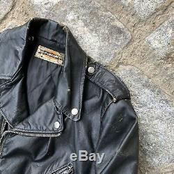 Vintage 60s Harley Davidson Distressed Leather Biker Jacket Black Size S/M