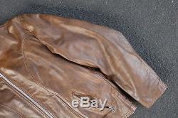Vintage 60s Schott Cafe Racer Leather Jacket Size 46 L XL Coat Motorcycle Moto