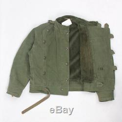 Vintage 60s Swedish Army Motorcycle heavy cotton lined jacket 52 L-XL GREEN