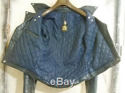 Vintage 70's Blue Lewis Leathers Aviakit Monza Leather Motorcycle Jacket Size 38