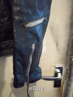 Vintage 70's Lewis Leathers Bronx Leather Motorcycle Jacket Size 44