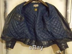 Vintage 70's Lewis Leathers Monza Blue Leather Motorcycle Jacket Size 40