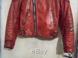 Vintage 70's Lewis Leathers Monza Red Leather Motorcycle Jacket Size 36/38