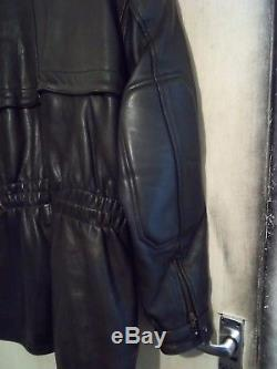 Vintage 80's Belstaff Heavy Leather Touring Motorcycle Jacket Size 48 With Liner