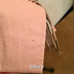 Vintage 80's Bermans Rare Pink Cropped Fringe Leather Jacket withThinsulate Liner