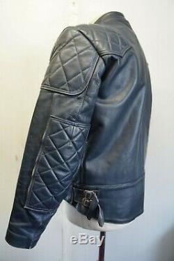 Vintage 80's Lewis Leathers Phantom Motorcycle Blue Jacket Size 44 (uk M)