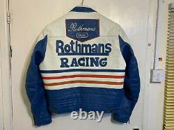 Vintage 80's Rothmans Racing Leather Motorcycle Jacket Size L