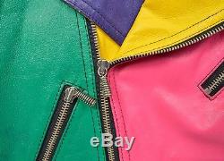 Vintage 80s 90s Leather Jacket ColorBlock Finesse Hip Hop Flair Motorcycle Color