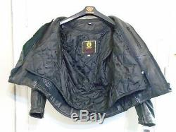 Vintage 90's Belstaff Heavy Leather Motorcycle Jacket Size 42 + Liner