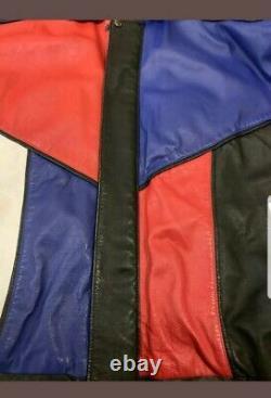 Vintage 90s Colorblock Corvette Leather Jacket Men's Medium