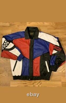 Vintage 90s N. L Colorblock Corvette Leather Motorcycle Jacket Men's Medium