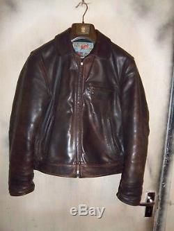 Vintage Aero Leather Highwayman Steerhide Leather Motorcycle Jacket Size 38