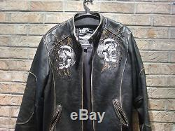 Vintage Affliction Motorcycle Leather Jacket, Pre-Owned. Size L. Limited