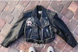 Vintage Betty Boop Motorcycle Leather Jacket Great Condition Crop Top Ykk