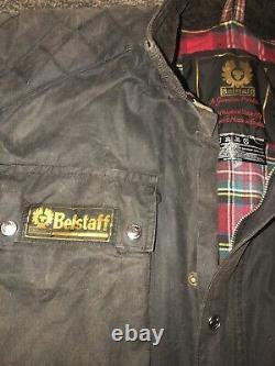 Vintage Black Belstaff Trialmaster Pro Waxed Cotton Motorcycle Jacket Size XL