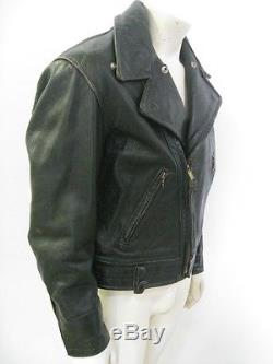 Vintage Black CAL-LEATHER Motorcycle Police Jacket Lace Up Sides Size 46 LONG