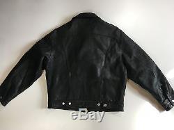 Vintage Black Levis Leather Trucker Jacket size Large L