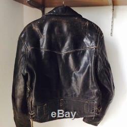 Vintage CAL Leathers biker horsehide leather jacket size 38