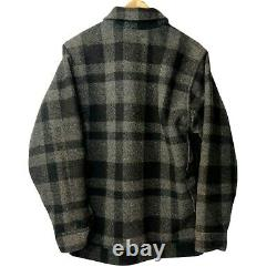 Vintage CC Filson Seattle Mackinaw Wool Cruiser Coat Plaid Gray Black Size XL