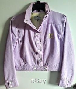 Vintage COURREGES lavender vinyl cropped biker Jacket