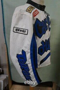 Vintage Carpe Diem Canvas Leather Motorcycle Racing Jacket Size XL