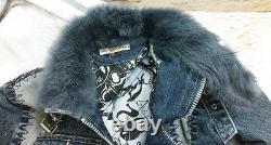 Vintage Christian Lacroix 90s Leather Fur Cotton Jean Jacket Women's Size S