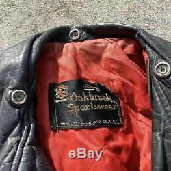 Vintage D-POCKET Horsehide Leather Jacket L Large Mens SEARS Oakbrook Sportswear
