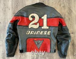 Vintage Dainese Motorcycle leather Jacket Biker Riding Red Black Sz 54