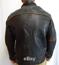 Vintage Distressed Brown Italian Leather Motorcycle Biker Jacket Coat (XL) KB557