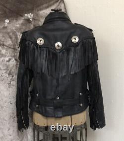 Vintage FMC Black Leather Fringe Motorcycle Jacket