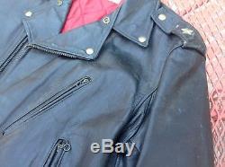 Vintage FRONT QUARTER Genuine HORSEHIDE Leather Jacket DURABLE biker motorcycle