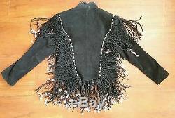Vintage Fringe Motorcycle Red Clay Black Suede Beaded Seashell Fring Jacket