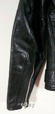 Vintage Grais Pony Leather Genuine Motorcycle Jacket Durable Classic Cafe Racer