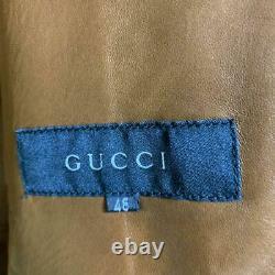 Vintage Gucci GG Monogram Leather Trimming Biker Jacket Size 46 Tom Ford Era