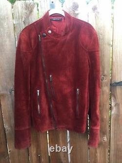 Vintage Gucci Vera Pelle Leather Burgundy Suede Jacket 46 Ladies motorcycle