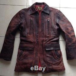 Vintage HERCULES american cowboy lapuk horsehide leather long jacket size S