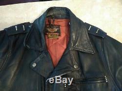 Vintage Harley Davidson Leather Motorcycle Jacket D Pocket Horsehide 1950's