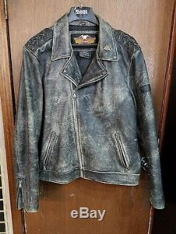 Vintage Harley Davidson Leather Motorcycle Jacket Size 3XL Distressed