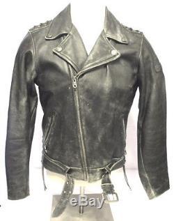 Vintage Harley Davidson Leather Motorcycle Jacket Size Medium Distressed