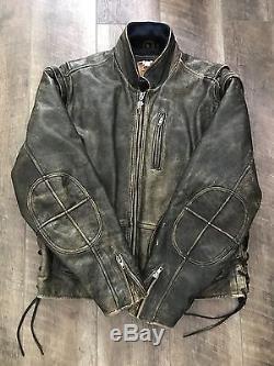 Vintage Harley Davidson Original Panhead Leather Jacket Mens Large