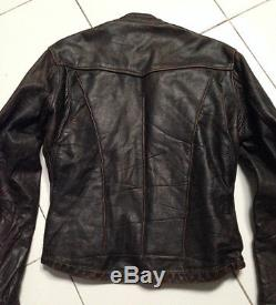 Vintage LANGLITZ british boxer RON BARTON leather biker jacket size S