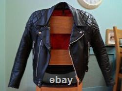 Vintage Leather Biker Jacket-size 36 38 Uk-small-red Lining-diamond Padding