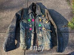 Vintage Levis Big E Biker Vest Leather Jacket 1 %er MC Patch Pin Button buco