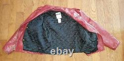 Vintage MOSCHINO Red Leather Biker Jacket Women's Size M