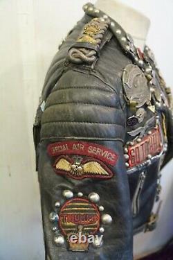 Vintage Mascot Distressed Rockers Fringed Biker Jacket Size M Studs Ace Patina